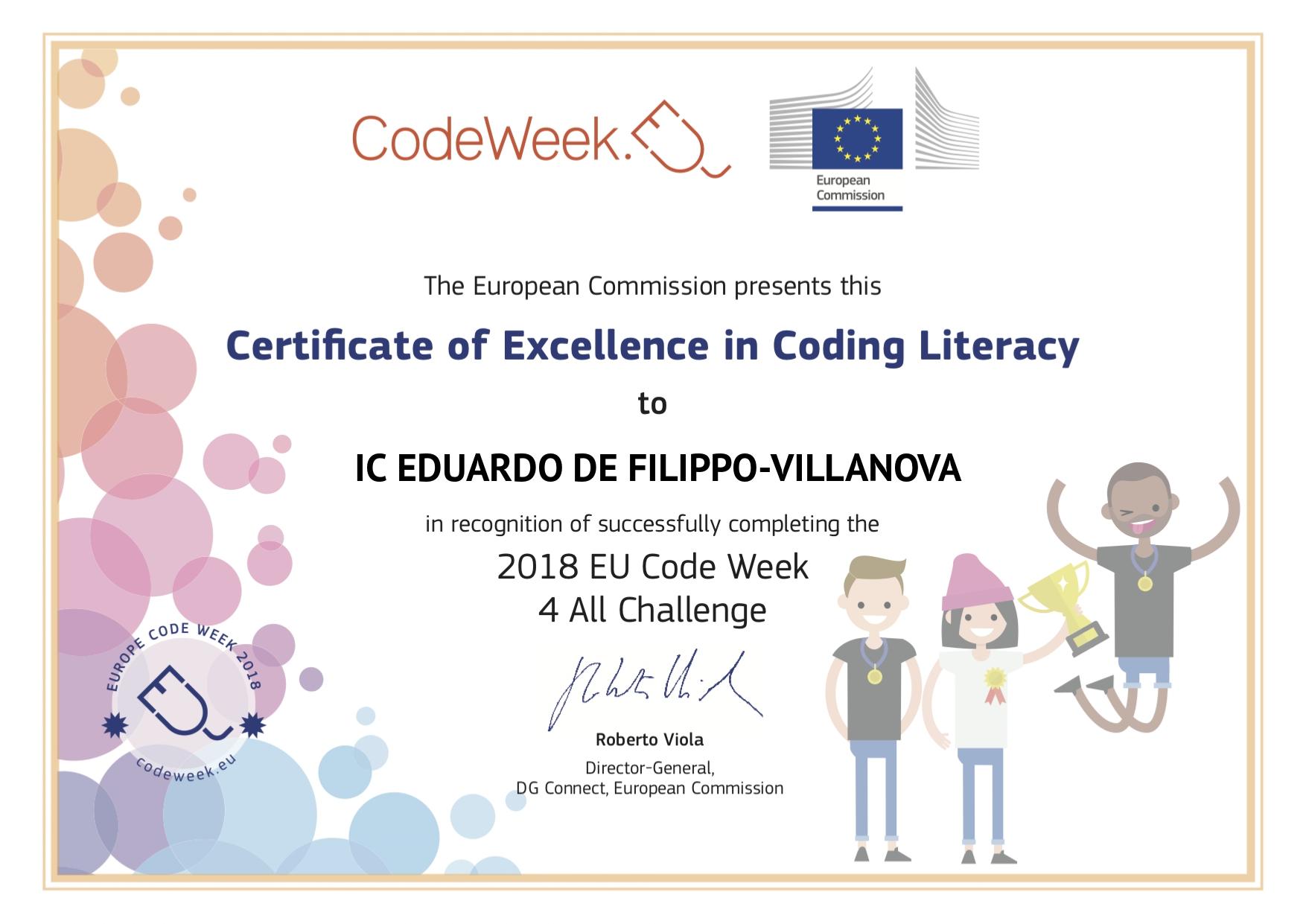 Certificato di Eccellenza in Coding Literacy